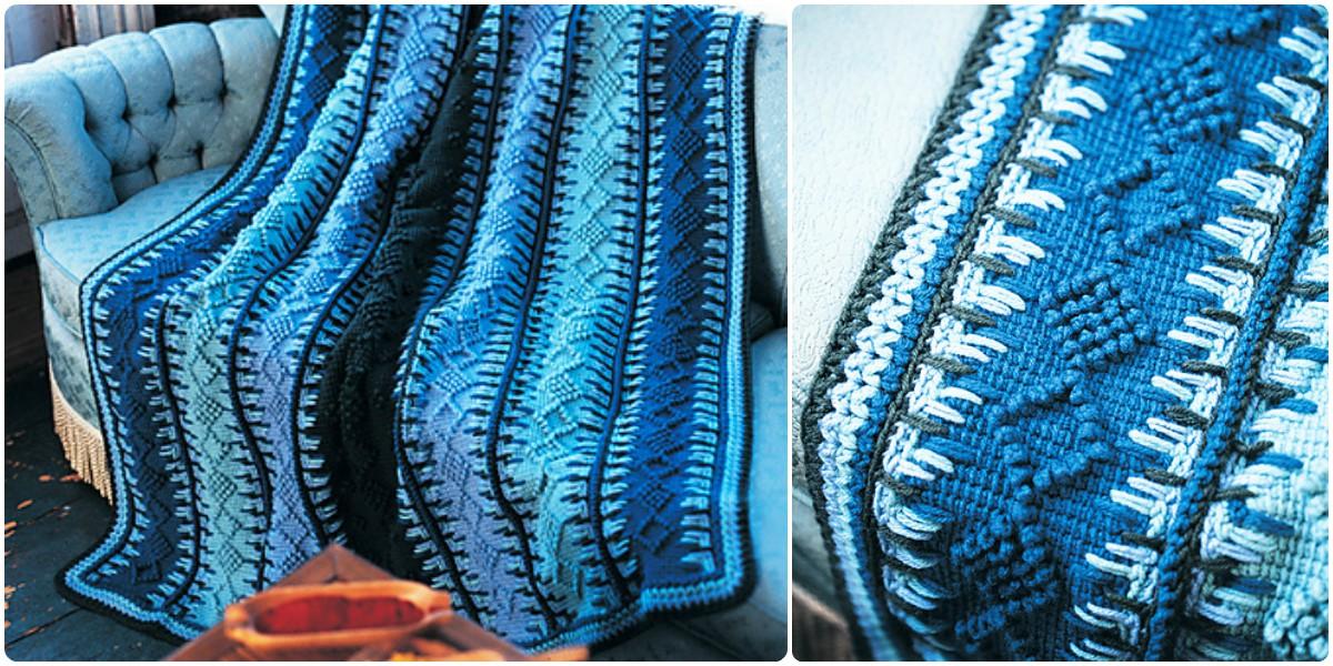 Crochet Alaskan Navy Blue Tunisian Blanket Free Pattern Styles Idea