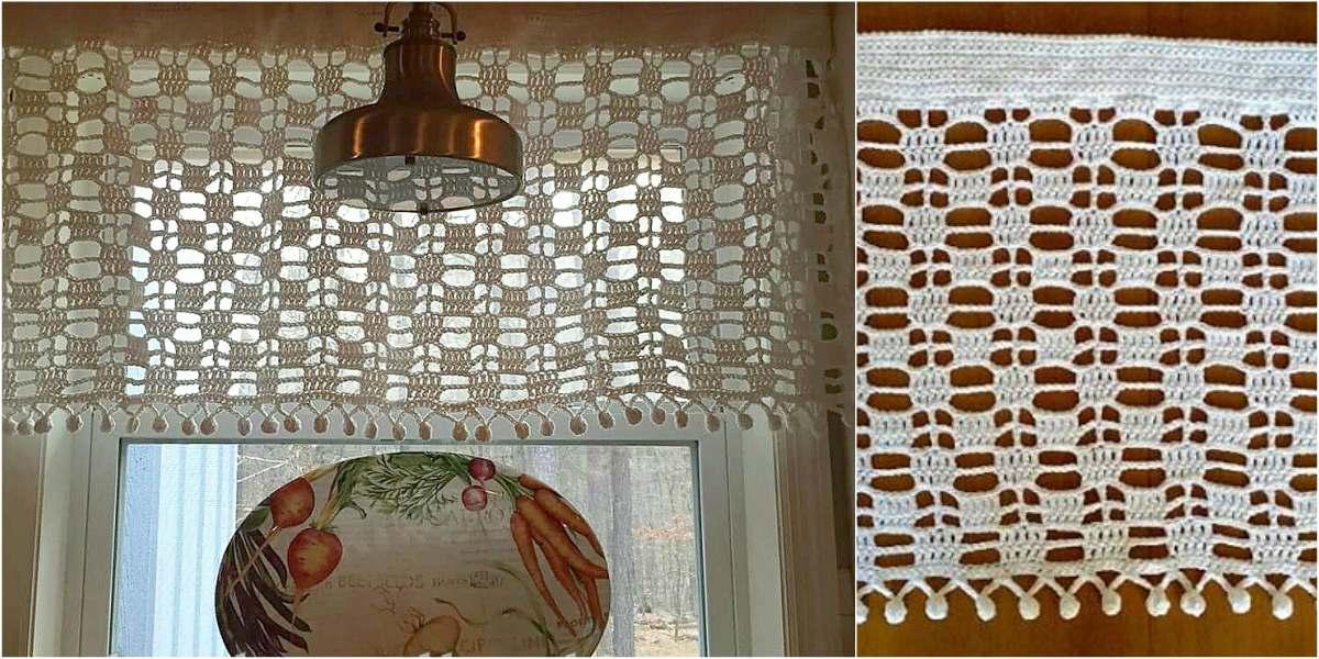 Window Pane Valence Crochet Curtain Free Pattern Styles Idea